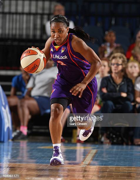 Temeka Johnson of the Phoenix Mercury handles the ball during a WNBA game against the Chicago Sky on August 10 2010 at the AllState Arena in Rosemont...