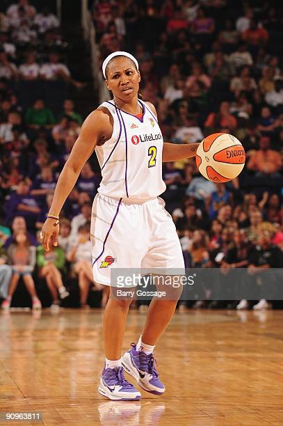 Temeka Johnson of the Phoenix Mercury moves the ball against the Washington Mystics during the game on August 21 2009 at US Airways Center in Phoenix...