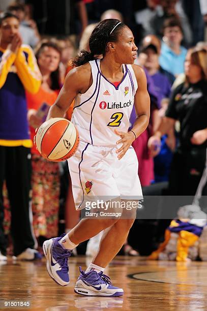Temeka Johnson of the Phoenix Mercury moves the ball to the basket in Game Two of the Western Conference Finals against the Los Angeles Sparks during...