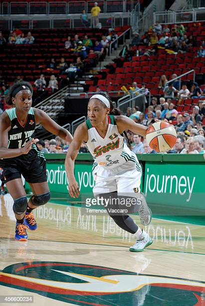 Temeka Johnson of the Seattle Storm drives against the New York Liberty on July 242014 at Key Arena in Seattle Washington NOTE TO USER User expressly...