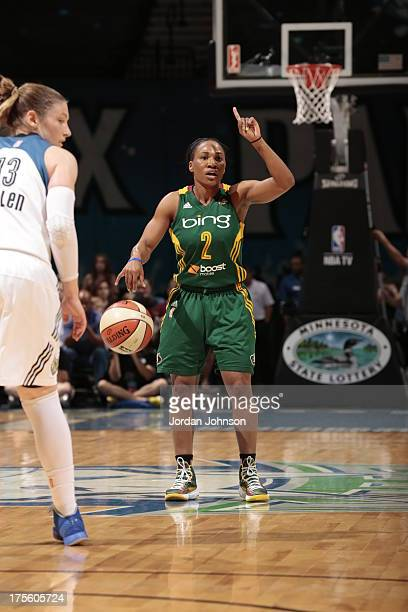 Temeka Johnson of the Seattle Storm sets up the play against the Minnesota Lynx during the WNBA game on August 4 2013 at Target Center in Minneapolis...