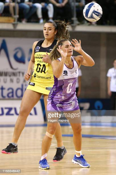 Temepara Bailey of the Stars passes during the ANZ Premiership Netball Final between the Pulse and the Stars at Te Rauparaha Arena on June 03 2019 in...