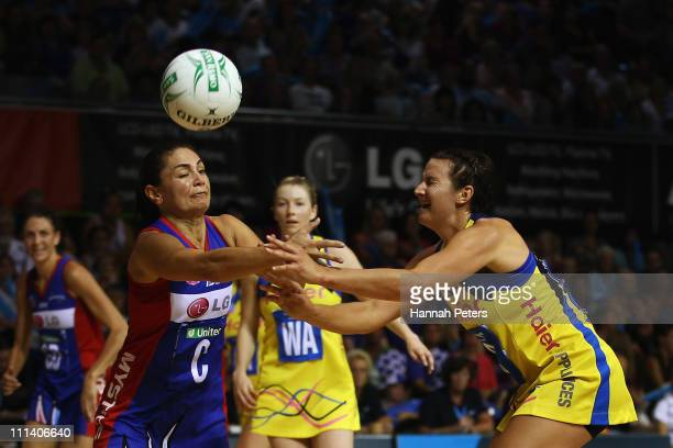 Temepara George of the Mystics competes with Daya Pritchard of the Pulse during the round eight ANZ Championship match between the Mystics and the...