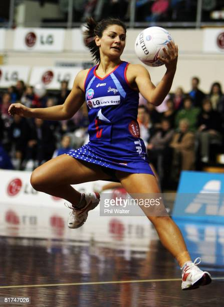 Temepara George of the Mystics recieves a pass during the round 12 ANZ Championships match between the Northern Mystics and the Southern Steel at the...