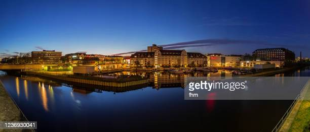 temeplhof harbor at blue hour (hafen tempelhof) - berlin, germany - german culture stock pictures, royalty-free photos & images