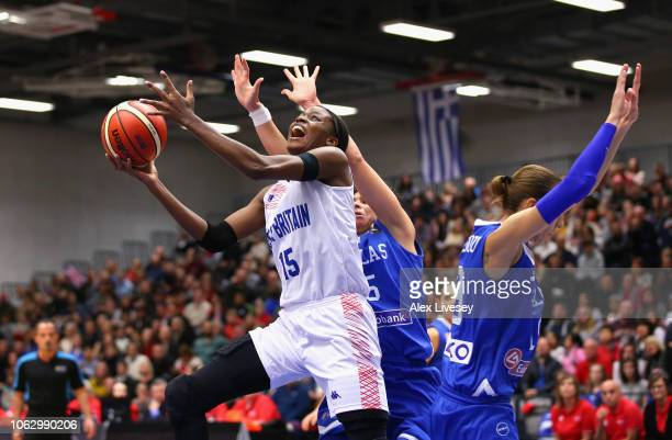 Temi Fagbenle of Great Britain beats a challenge from Styliani Kaltsidou of Greece during the FIBA Women's Eurobasket 2019 Qualifier match between...