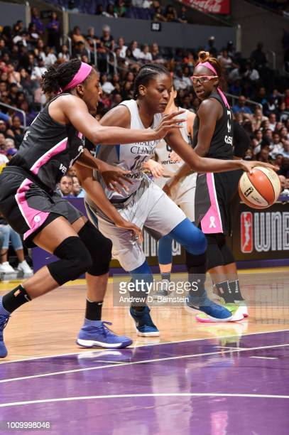 Temi Fagbenle of the Minnesota Lynx handles the ball against the Los Angeles Sparks on August 2 2018 at STAPLES Center in Los Angeles California NOTE...