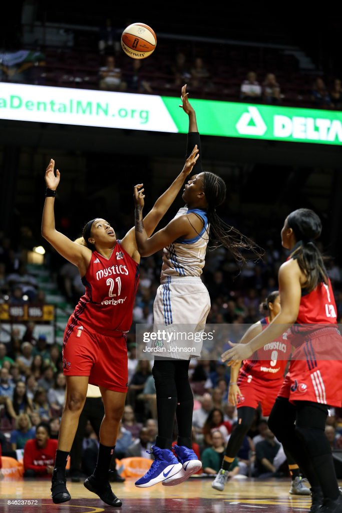 Temi Fagbenle #14 of the Minnesota Lynx shoots the ball during the game against the Washington Mystics in Game One of the Semifinals during the 2017 WNBA Playoffs on September 12, 2017 at The University of Minnesota Williams Arena in Minneapolis, Minnesota.
