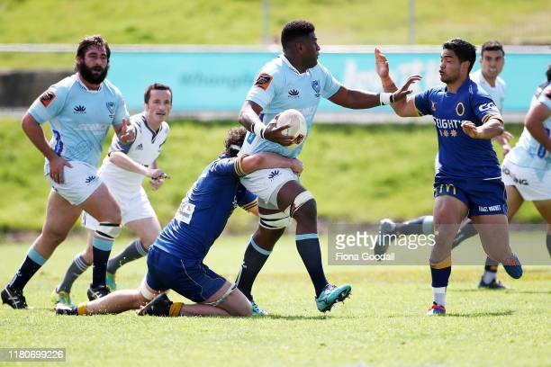 Temo Mayanavanua of Northland fends during the round 10 Mitre 10 Cup match between Northland and Otago at Semenoff Stadium on October 13 2019 in...