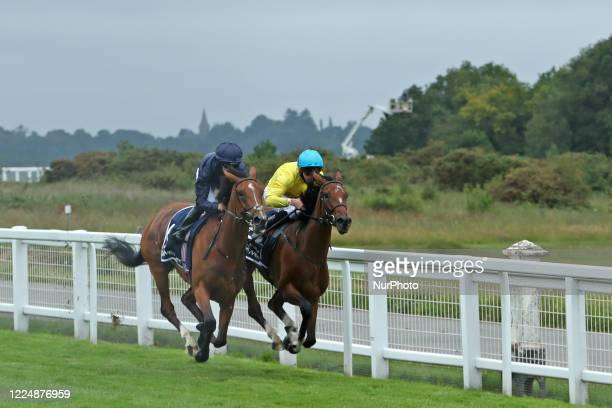 Tempa Vuela with M Harley and Passion with jockey PB Beggy race in the Invested Oaks on Epsom Downs south of London on July 4 2020 which was...