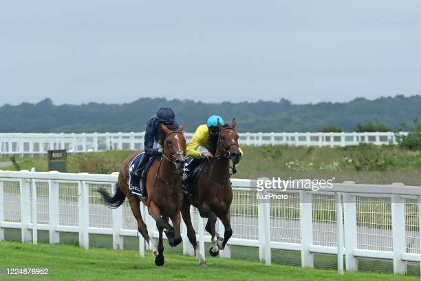 Tempa Vuela with M Harley battle against Passion with jockey PB Beggy race in the Invested Oaks on Epsom Downs south of London on July 4 2020 which...