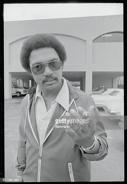 Oakland A's outfielder Reggie Jackson shows duplicates of three world series rings valued totally at $7000 that were stolen from his home here...