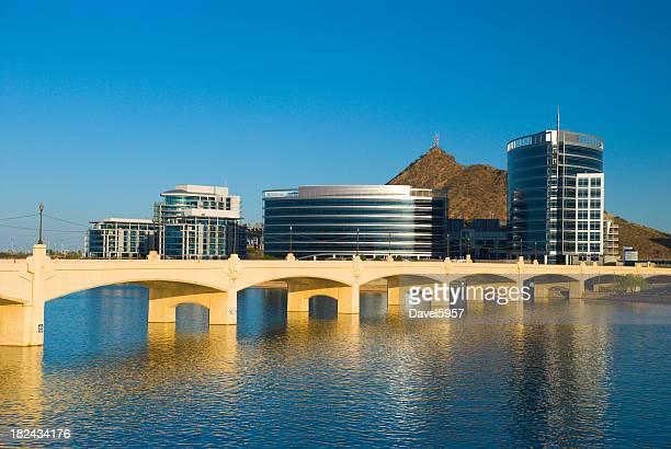 Tempe skyline, river, and bridge