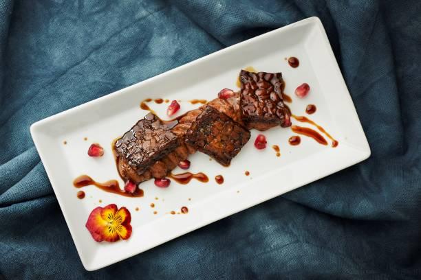 Tempeh Glazed with Chocolate Aquafaba Chocolate Mousse.