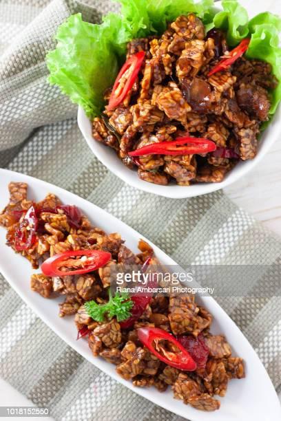 tempeh orek or scrambled tempeh - indonesian food - shot overhead in clean simple styling - テンペ ストックフォトと画像