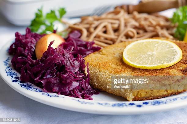 tempeh schnitzel with red cabbage and wheat spaetzle - meat substitute stock pictures, royalty-free photos & images