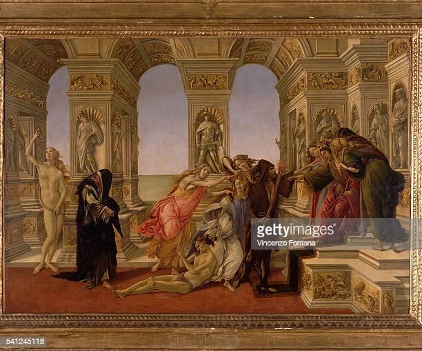 Tempera on wood, 62 x 91 cm. Galleria degli Uffizi, Florence, Italy.