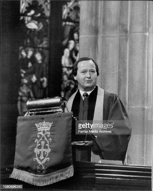 Temperance Union Anniversary Service at St Andrews Cathedral Gordon Moyes delivers the address August 22 1982