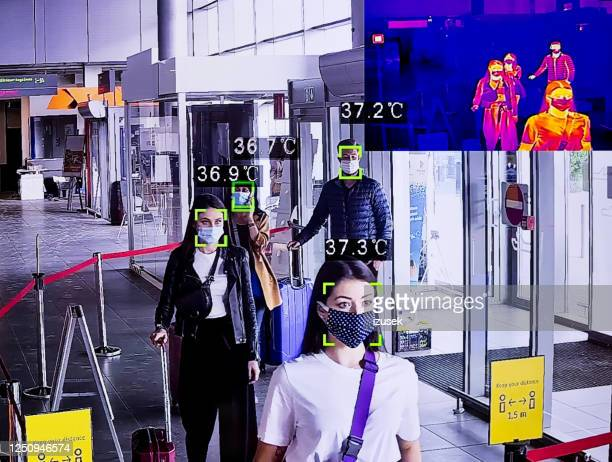 temperature measurement at the airport terminal, thermal image - temperature stock pictures, royalty-free photos & images