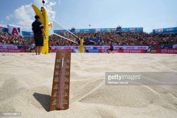 Temperature thermoter showing high degree of celsius on the center court during the pool match between Tobias Winter and Julian Hoerl of Austria and...