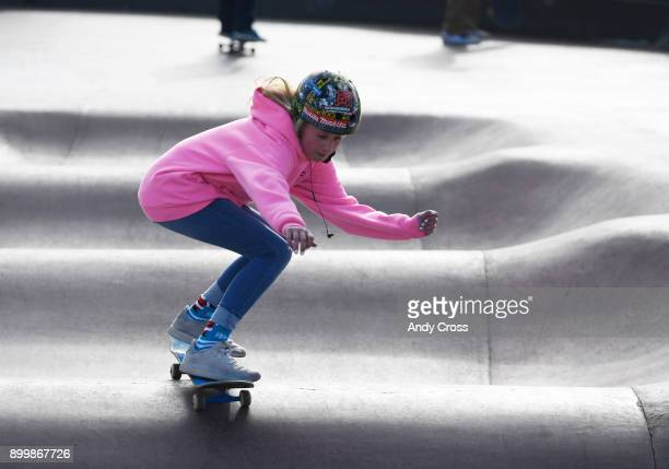 Temperatures in the low 20's didn't stop skateboard enthusiast Julianne MacNichol from skating at the Denver Skate Park December 30 2017