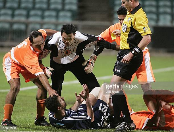 Tempers boil over after a tackle by Riki van Steeden of Auckland City FC during the OFC Club Championship Final match between Auckland City and AS...