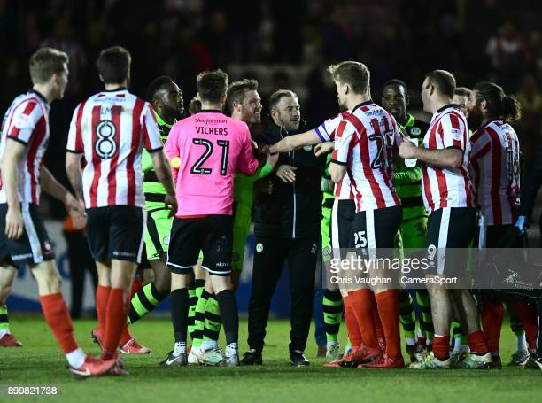 Tempers boil over between the Forest Green Rovers and Lincoln City players following the Sky Bet League Two match between Lincoln City and Forest...