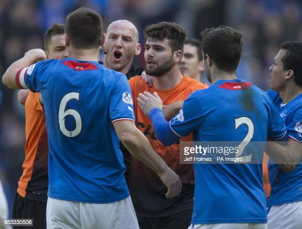 Tempers flair at the end of the match with Rangers captain Lee McCulloch and Dundee United's Nadir Ciftci during the William Hill Scottish Cup Semi...
