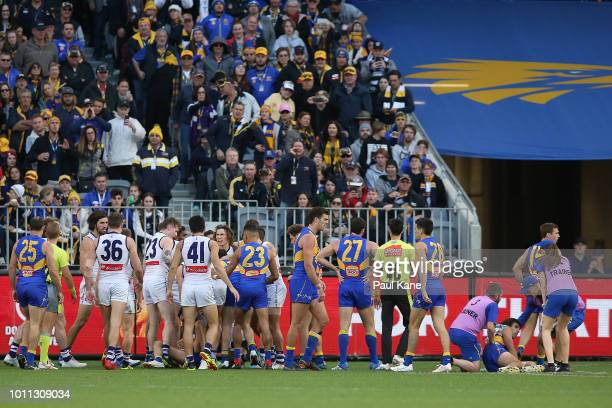 Tempers flare after a bump on Andrew Gaff of the Eagles by Michael Johnson of the Dockers during the round 20 AFL match between the West Coast Eagles...