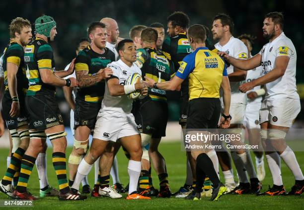 Tempers flare as Bath Rugby's Kahn Fotuali'i upsets his former team mates during the Aviva Premiership match between Northampton Saints and Bath...
