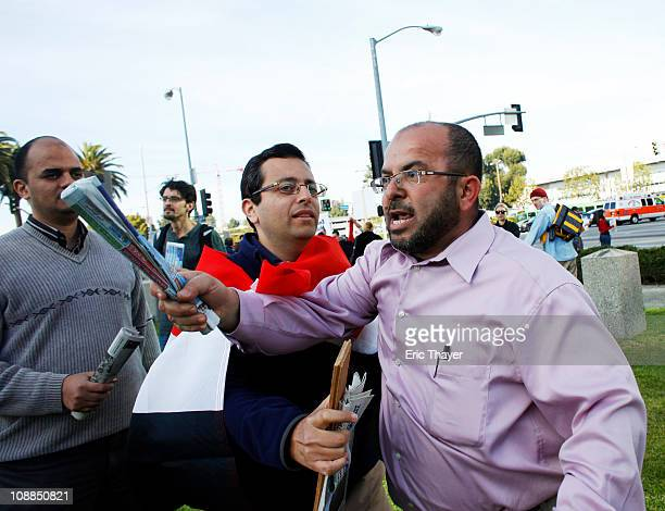 Tempers flare at a protest against the regime of Egyptian President Hosni Mubarak February 5 2011 in the Westwood neighborhood of Los Angeles...