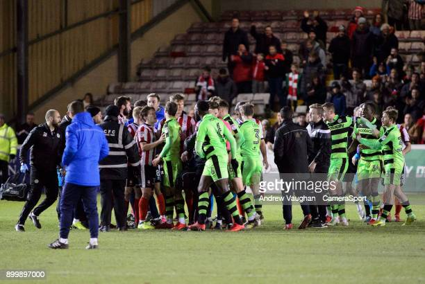 Tempers flare between Lincoln City and Forest Green Rovers players following the Sky Bet League Two match between Lincoln City and Forest Green...