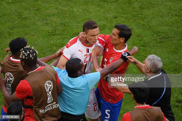 Tempers flare between Nemanja Matic of Serbia and Celso Borges of Costa Rica as fourth official tries to step in during the 2018 FIFA World Cup...