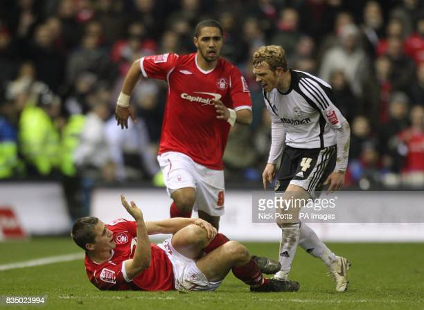 Tempers flare between Nottingham Forest's Chris Cohen and Derby County's Paul Green