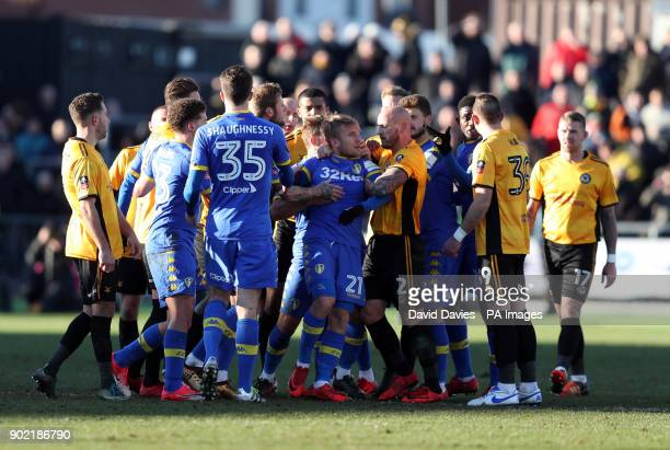 Tempers flare between the two sides resulting in Leeds United's Samuel Saiz being sent off during the Emirates FA Cup Third Round match at Rodney...