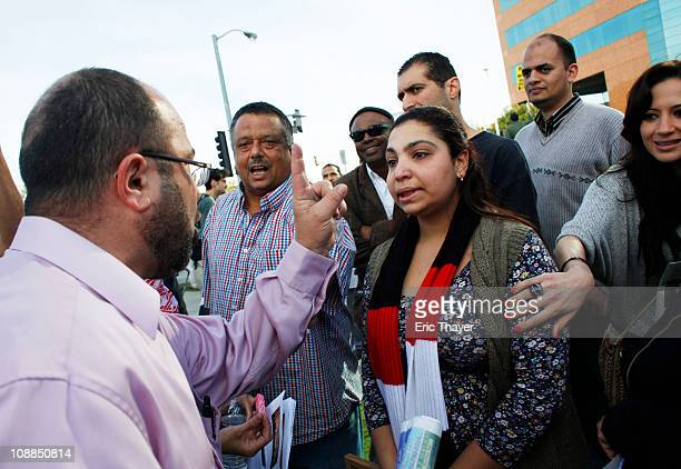 Tempers flare during a protest against the regime of Egyptian President Hosni Mubarak February 5 2011 in the Westwood neighborhood of Los Angeles...
