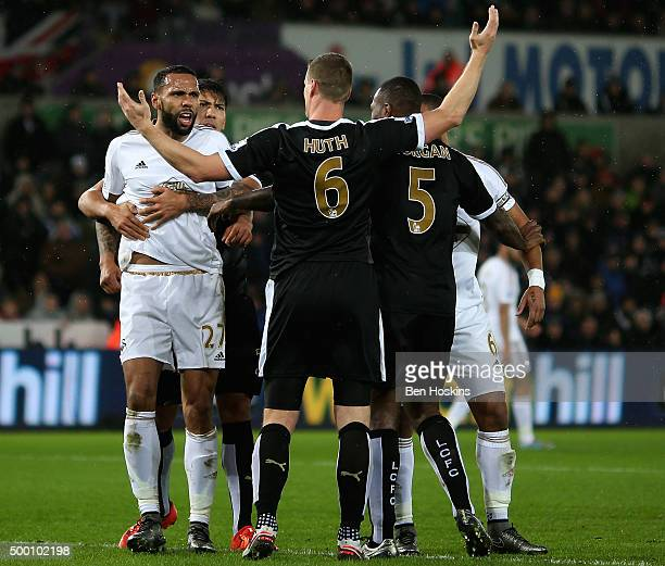 Tempers flare during the Barclays Premier League match between Swansea City and Leicester City at Liberty Stadium on December 5 2015 in Swansea Wales