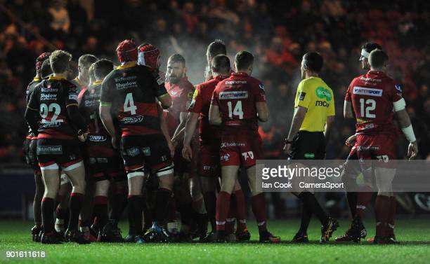 Tempers flare during the Guinness Pro14 Round 13 match between Scarlets and Dragons at Parc y Scarlets on January 5 2018 in Llanelli Wales