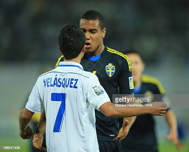 Tempers flare up between Brayan Velasquez of Honduras and Noah Sonko of Sweden at the final whistle as Sweden celebrate victory during the FIFA U17...