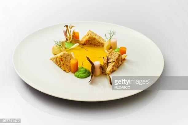 Temphe with Saffron Carrots Artichoke Daikon Pea Cream Italy europe