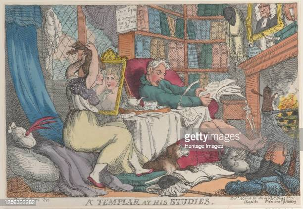 Templar at His Studies, March 20, 1811. Artist Thomas Rowlandson.