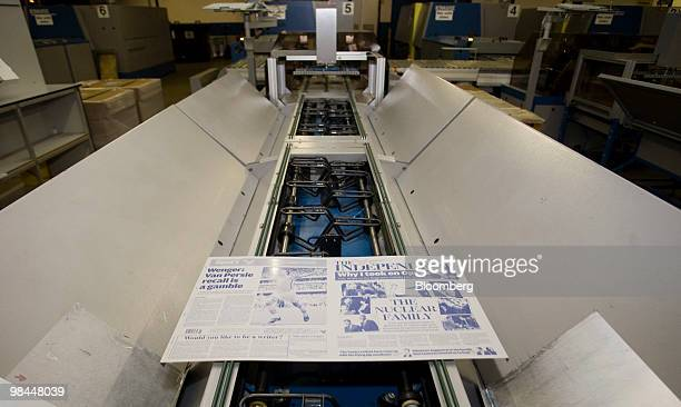 A template for the Independent newspaper moves along the production line at Trinity Mirror's factory in Watford UK on Tuesday April 13 2010 Trinity...