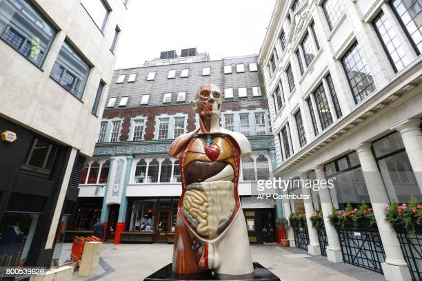 'Temple' a2008 sculpture by British artist Damien Hirst is pictured in central London on June 24 2017 following its installation The 21foot painted...