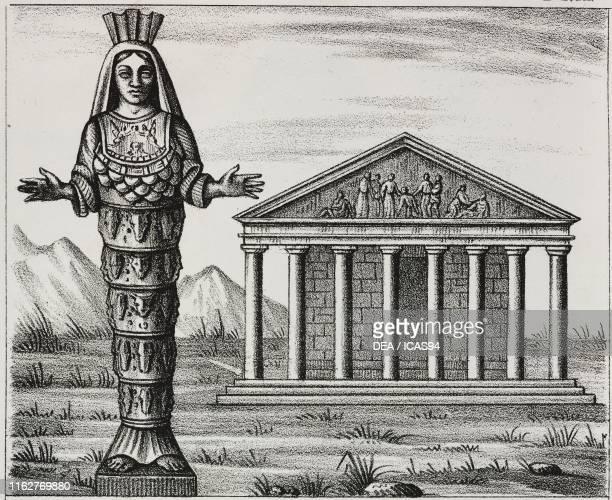 Temple and statue of Artemis in Ephesus Turkey lithograph from Galleria universale di tutti i popoli del mondo ossia storia dei costumi religioni...