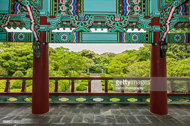 Temple at Cheonjeyeon falls on Jeju Island
