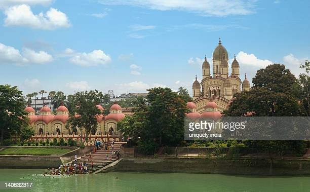 Temple at the waterfront, Dakshineswar Kali Temple, Hooghly River, Kolkata, West Bengal, India