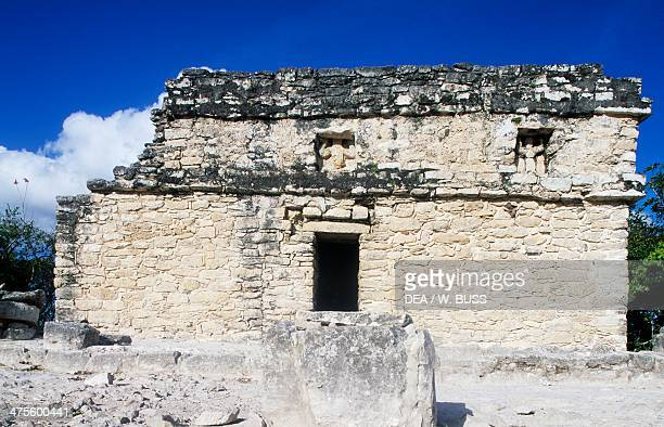 Temple atop Nohoch Mul Pyramid 42m high archaeological site of Coba Quintana Roo Mexico Maya Civilisation