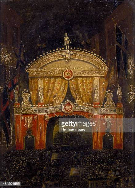 'Temple Bar Illuminated for the Marriage of the Prince of Wales 11 March 1863' Temple Bar one of the gates into the City of London was specially...