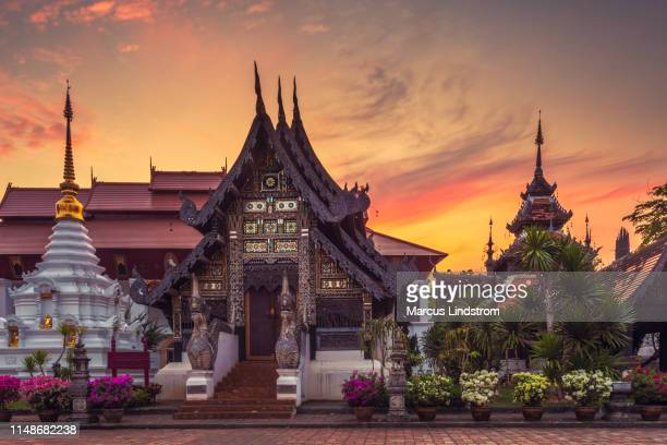 temple buildings in chiang mai - indochina stock pictures, royalty-free photos & images