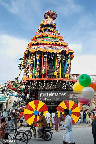 Temple Chariot procession during the Karthigai Deepam Festival celebrated in the Tamil Month of Karthigai Thiruvannamalai Tamil Nadu India